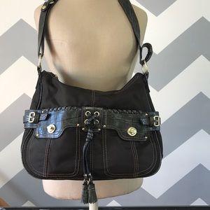 Handbags - SISLEY brown green crocodile print purse satchel